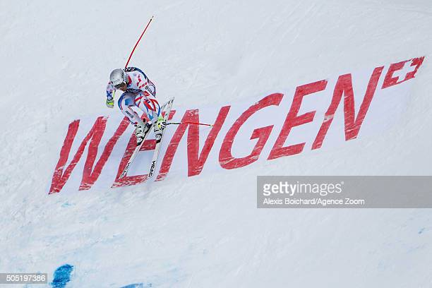 Adrien Theaux of France competes during the Audi FIS Alpine Ski World Cup Men's Downhill on January 16 2016 in Wengen Switzerland