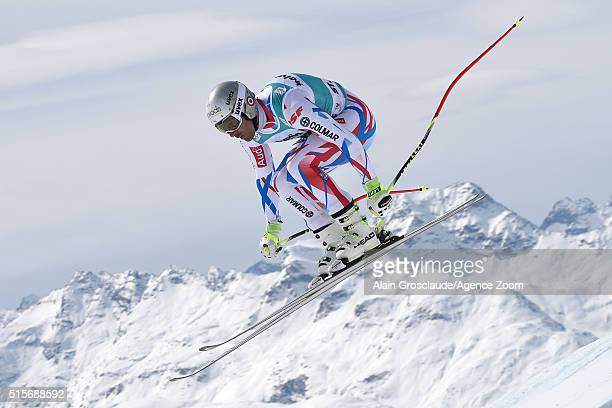 Adrien Theaux of France competes during the Audi FIS Alpine Ski World Cup Finals Men's and Women's Downhill Training on March 15 2016 in St Moritz...