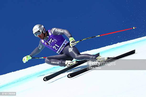 Adrien Theaux of France competes during the Audi FIS Alpine Ski World Cup Finals Men's and Women's SuperG on March 17 2016 in St Moritz Switzerland