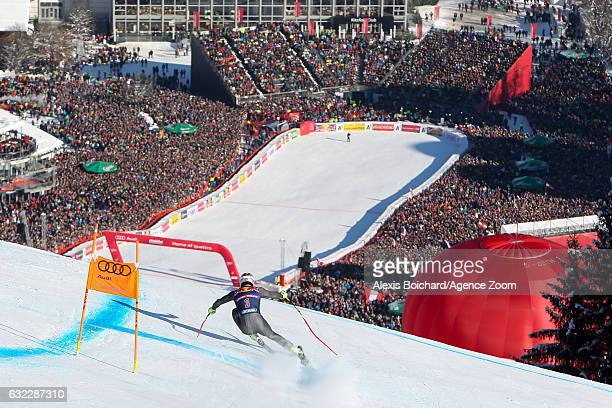 Adrien Theaux of France competes during the Audi FIS Alpine Ski World Cup Men's Downhill on January 21 2017 in Kitzbuehel Austria
