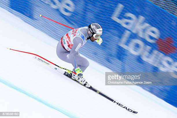 Adrien Theaux of France competes during the Audi FIS Alpine Ski World Cup Men's Downhill Training on November 24 2017 in Lake Louise Canada