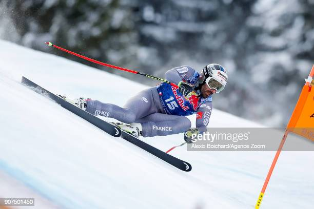 Adrien Theaux of France competes during the Audi FIS Alpine Ski World Cup Men's Downhill on January 20 2018 in Kitzbuehel Austria