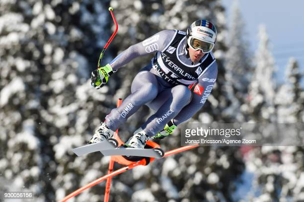 Adrien Theaux of France competes during the Audi FIS Alpine Ski World Cup Men's Downhill on March 10 2018 in Kvitfjell Norway