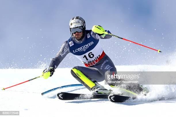 Adrien Theaux of France competes in the Men's Combined Slalom during the FIS Alpine World Ski Championships on February 13 2017 in St Moritz...