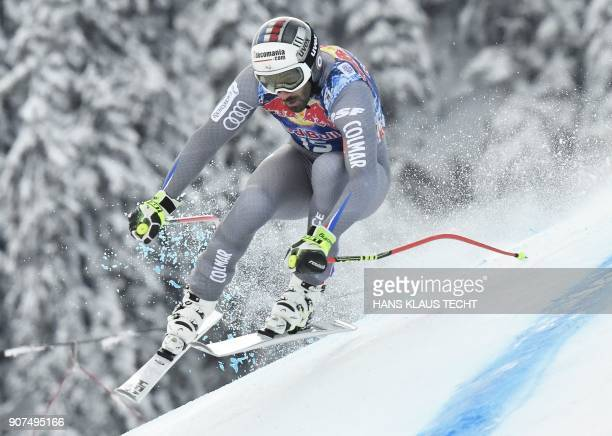 TOPSHOT Adrien Theaux of France competes in the men's downhill event at the FIS Alpine World Cup in Kitzbuehel Austria on January 20 2018 / AFP PHOTO...