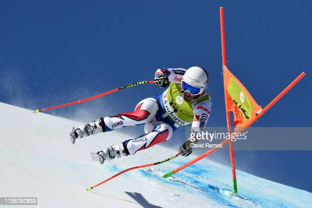 Adrien Theaux of France during Men's Downhill training on day two of the 2019 Alpine Skiing World Cup Finals on March 12 2019 in Andorra la Vella...