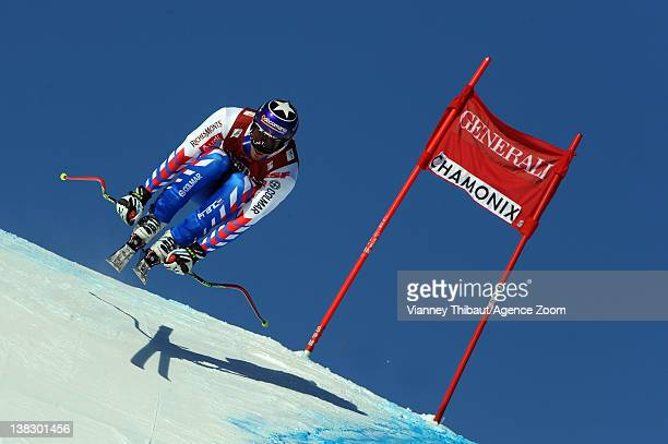 Adrien Theaux of France during the Audi FIS Alpine Ski World Cup Men's Super Combined on February 5 2012 in Chamonix France