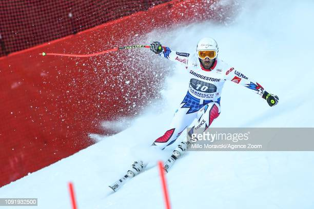 Adrien Theaux of France in action during the Audi FIS Alpine Ski World Cup Men's Downhill Training on January 31 2019 in Garmisch Partenkirchen...