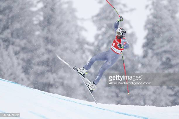 Adrien Theaux of France in action during the Audi FIS Alpine Ski World Cup Men's Super G on January 19, 2018 in Kitzbuehel, Austria.