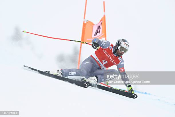 Adrien Theaux of France in action during the Audi FIS Alpine Ski World Cup Men's Super G on January 19 2018 in Kitzbuehel Austria