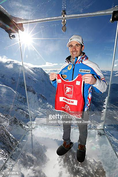 Adrien Theaux of France in the Aiguille du midi Skywalk during the Audi FIS Alpine Ski World Cup Men's Downhill Training on February 17 2016 in...