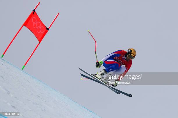 Adrien Theaux of France makes a run during the Men's Downhill 3rd Training on day one of the PyeongChang 2018 Winter Olympic Games at Jeongseon...