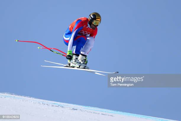 Adrien Theaux of France makes his run during the Men's Downhill Alpine Skiing training at Jeongseon Alpine Centre on February 8 2018 in...