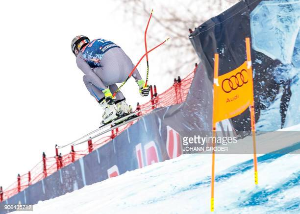 Adrien Theaux of France performis during a training session of the FIS Alpine World Cup Men's downhill event in Kitzbuehel Austria on January 18 2018...