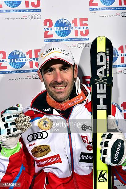 Adrien Theaux of France poses with his bronze medal after the Men's SuperG in Red Tail Stadium on Day 4 of the 2015 FIS Alpine World Ski...