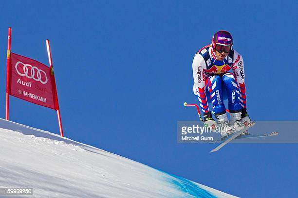 Adrien Theaux of France races down the Hahnenkamm Course during the Audi FIS Alpine Ski World Cup Downhill third official training session on January...
