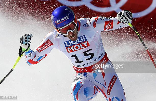 Adrien Theaux of France reacts after crossing the finish of the Men's SuperG in Red Tail Stadium on Day 4 of the 2015 FIS Alpine World Ski...