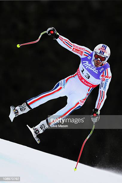 Adrien Theaux of France skis in the Men's Downhill Training during the Alpine FIS Ski World Championships on the Kandahar course on February 10 2011...