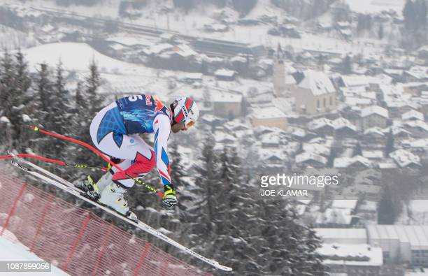 Adrien Theaux of France skis in the men's third downhill training during the FIS Alpine World Cup in Kitzbuehel Austria on January 24 2019