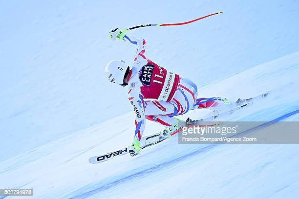 Adrien Theaux of France takes 1st place during the Audi FIS Alpine Ski World Cup Men's Downhill on December 29 2015 in Santa Caterina Valfurva Italy