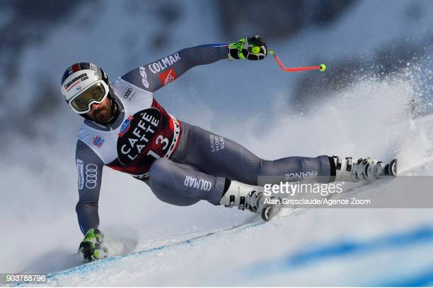 Adrien Theaux of France takes 1st place during the Audi FIS Alpine Ski World Cup Men's Downhill Training on January 11 2018 in Wengen Switzerland