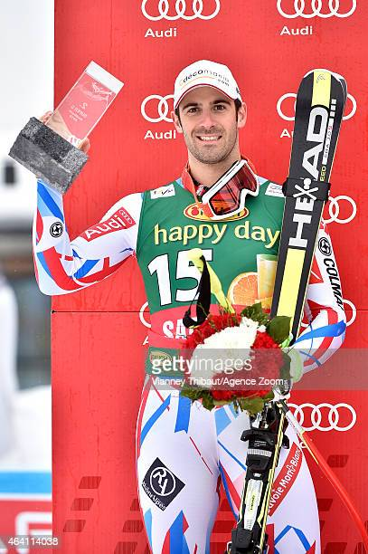 Adrien Theaux of France takes 2nd place during the Audi FIS Alpine Ski World Cup Men's Super G on February 22 2015 in Saalbach Austria