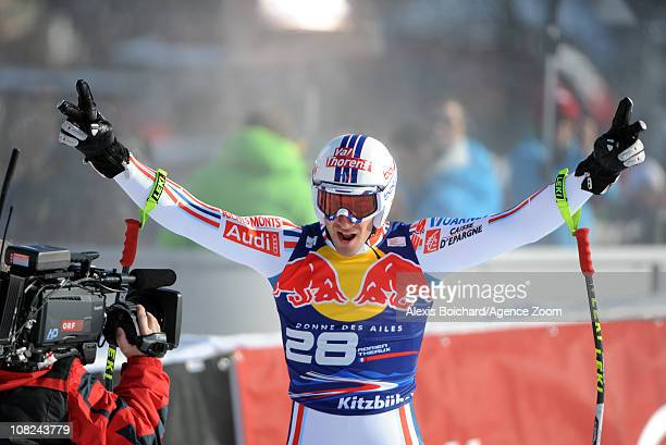 Adrien Theaux of France takes 3rd place during the Audi FIS Alpine Ski World Cup Men's Downhill on January 22 2011 in Kitzbuehel Austria