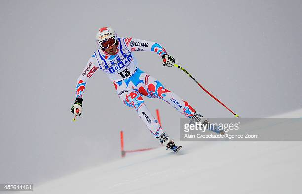 Adrien Theaux of France takes 3rd place during the Audi FIS Alpine Ski World Cup Men's Downhill on November 30 2013 in Lake Louise Canada