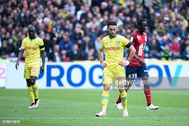 Adrien Thomasson of Nantes is dejected during the French League 1 match between Fc Nantes and Lille OSC at Stade de la Beaujoire on April 3 2016 in...
