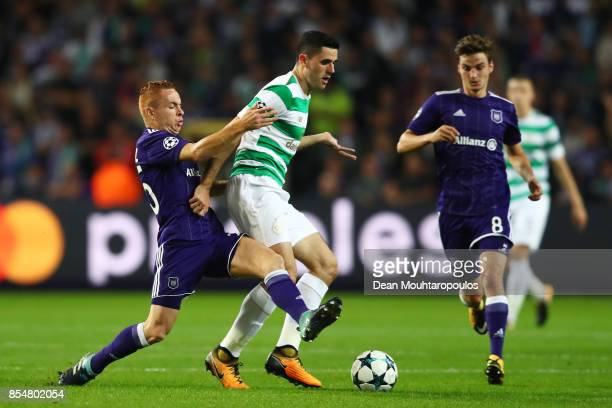 Adrien Trebel of RSC Anderlecht and Tomas Rogic of Celtic battle for possession during the UEFA Champions League group B match between RSC Anderlecht...