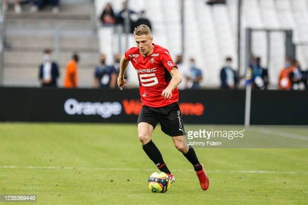 Adrien TRUFFERT of Rennes during the Ligue 1 Uber Eats match between Marseille and Rennes at Orange Velodrome on September 19, 2021 in Marseille,...