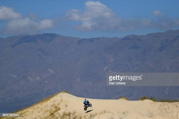 Adrien Van Beveren of France and Yamaha Yamalube Official Rally Team rides a WR450F Yamaha bike in the Elite ASO during stage ten of the 2018 Dakar...