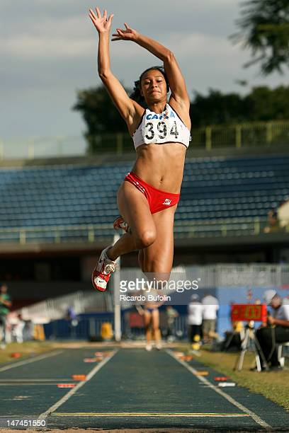 Adriene Lima Mendes from Brazil competes in the Long Jump event of the Heptathlon during the third day of the Trofeu Brazil/Caixa 2012 Track and...
