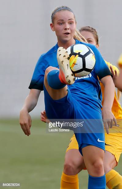 Adrienn Olah of MTK Hungaria FC controls the ball before Brooke Dunnigan of WFC BIIKKazygurt during the UEFA Women's Champions League Qualifying...