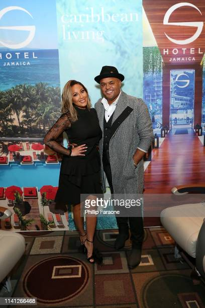 Adrienne Bailon and Israel Houghton attend the Daytime Emmy Awards PreAwards Networking Party/Gift Lounge at Pasadena Convention Center on May 4 2019...