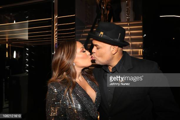 Adrienne Bailon and Israel Houghton attend the Lumiere De Vie Hommes Launch Event Aboard Superyacht Utopia IV on October 13 2018 in New York City