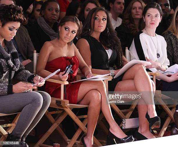Adrienne Bailon and Sammi Sweetheart Giancola attend the Bebe Fall 2011 fashion show at Style360 on February 16 2011 in New York City