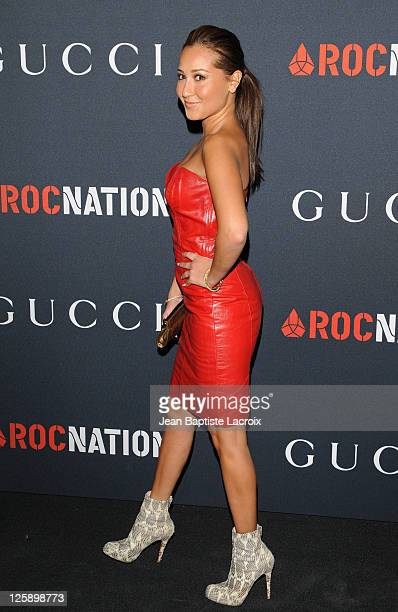 Adrienne Bailon arrives at the Gucci and RocNation PreGRAMMY brunch held at Soho House on February 12 2011 in West Hollywood California