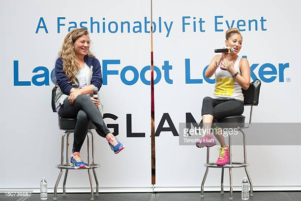 Adrienne Bailon attends as Lady Foot Locker celebrates New Look with 'Empire Girls' star Adrienne Bailon at North Riverside Park Mall on August 25...
