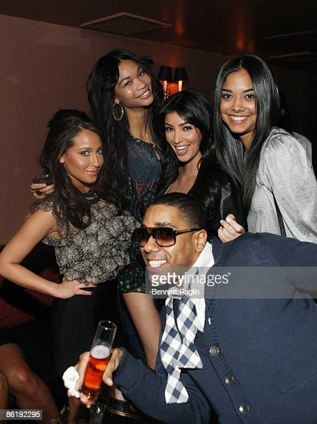 Adrienne Bailon Chanel Iman Kim Kardashian and BJ Coleman attend the official 2009 NFL draft party at M2 Ultra Lounge on April 23 2009 in New York...