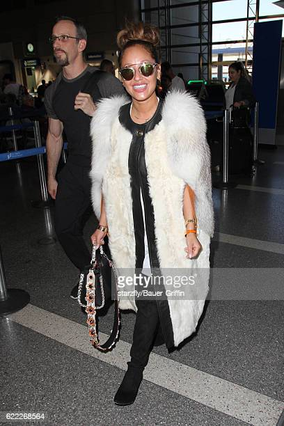 Adrienne Bailon is seen at LAX on November 09 2016 in Los Angeles California