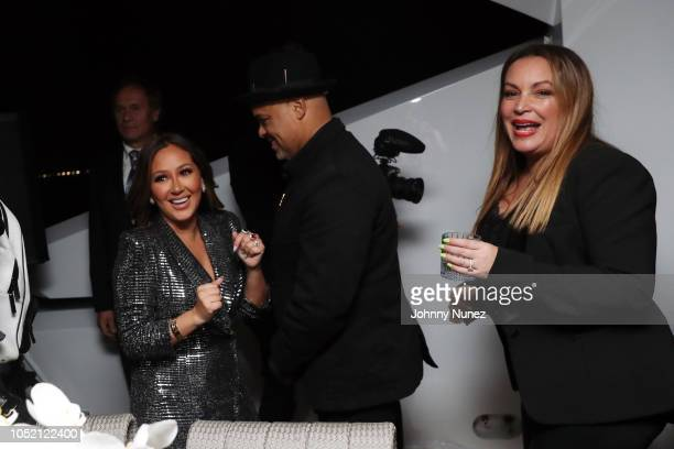 Adrienne Bailon Israel Houghton and Angie Martinez attend the Lumiere De Vie Hommes Launch Event Aboard Superyacht Utopia IV on October 13 2018 in...