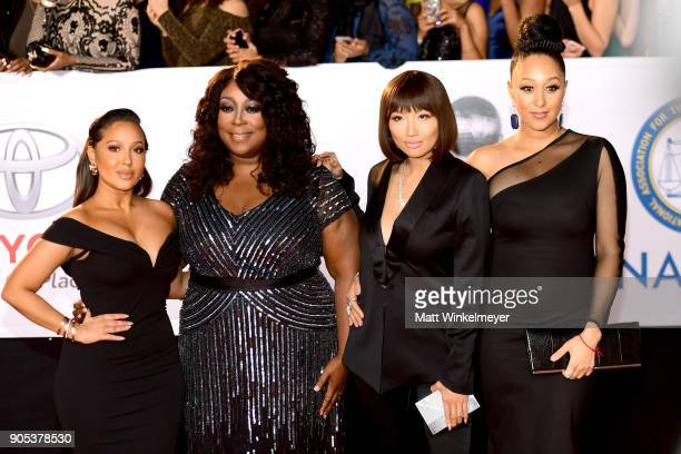 Adrienne Bailon, Loni Love, Jeannie Mai, and Tamera Mowry-Housley attend the 49th NAACP Image Awards at Pasadena Civic Auditorium on January 15, 2018...