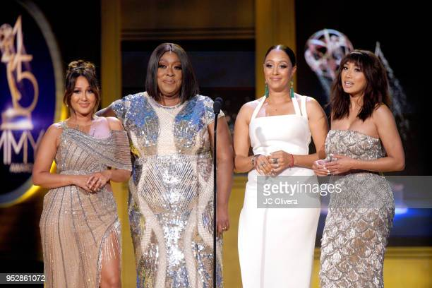 Adrienne Bailon Loni Love Tamera Mowry and Jeannie Mai speak onstage during the 45th annual Daytime Emmy Awards at Pasadena Civic Auditorium on April...