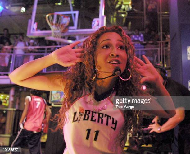 Adrienne Bailon of 3LW during 3LW perform at the NBA store in New York City in New York City New York United States