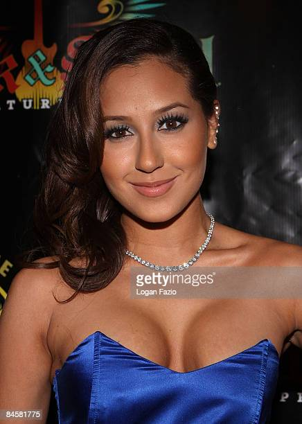 Adrienne Bailon of the group The Cheetah Girls attends the Hard Rock Hotel Presents Rock And Soul Super Saturday Night at Hard Rock Hotel on January...