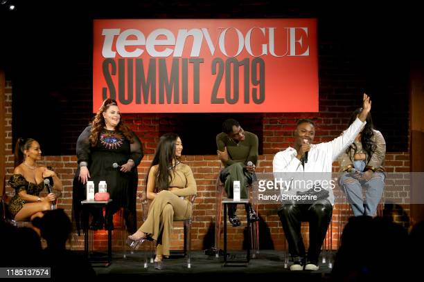 Adrienne BailonHoughton Tess Holliday Nikita Dragun Rickey Thompson Denzel Dion and Nabela Noor speak on stage at the Teen Vogue Summit 2019 at Goya...
