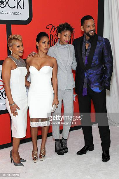 Adrienne BanfieldJones Jada Pinkett Smith Willow Smith and Will Smith attend the BET's Black Girls Rock Red Carpet sponsored by Chevrolet at NJPAC –...