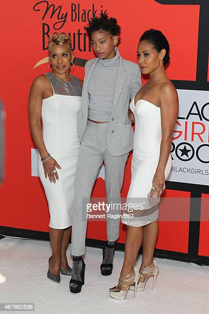 Adrienne BanfieldJones Willow Smith and Jada Pinkett Smith attend the BET's Black Girls Rock Red Carpet sponsored by Chevrolet at NJPAC – Prudential...
