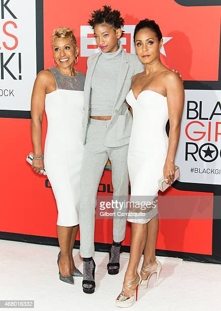 Adrienne BanfieldJones Willow Smith and Jada Pinkett Smith attend the BET's 'Black Girls Rock' Red Carpet at NJ Performing Arts Center on March 28...